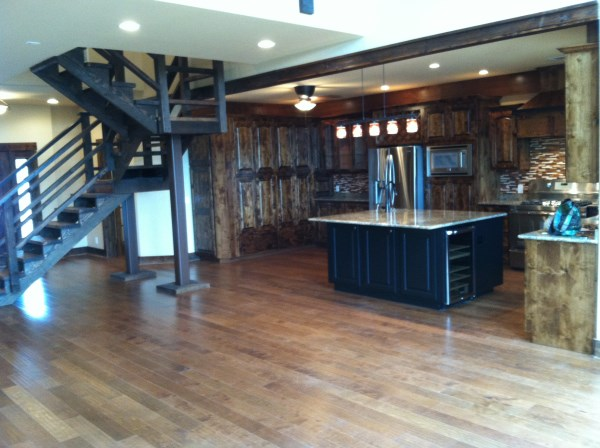 griego kitchen island and stairs